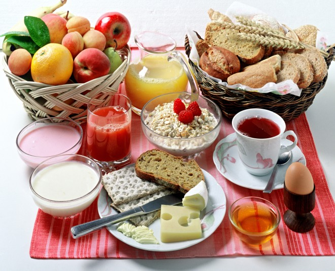 Healthy breakfast foods are cereals, fruits, vegetables, diary ...