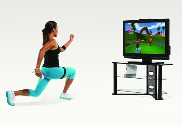 woman playing games and exercising